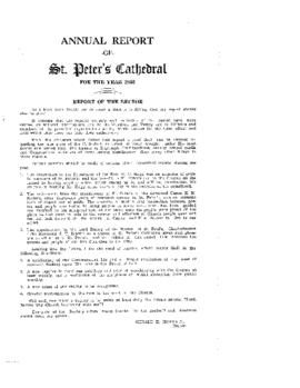 Annual Report of St. Peter's Cathedral for the Year 1952