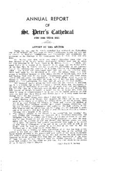 Annual Report of St. Peter's Cathedral for the Year 1954
