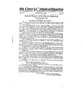Annual Report of St. Peter's Cathedral for the Year 1932